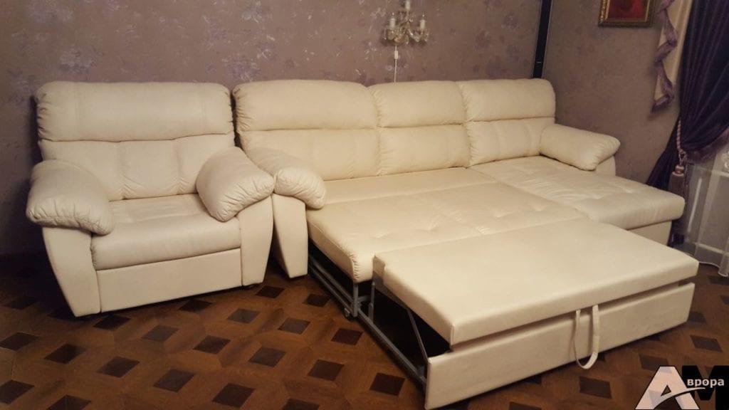 Перетяжка углового дивана и кресла фото 13