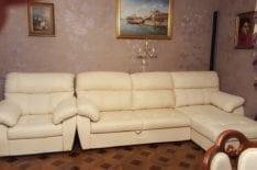 Перетяжка углового дивана и кресла фото 12