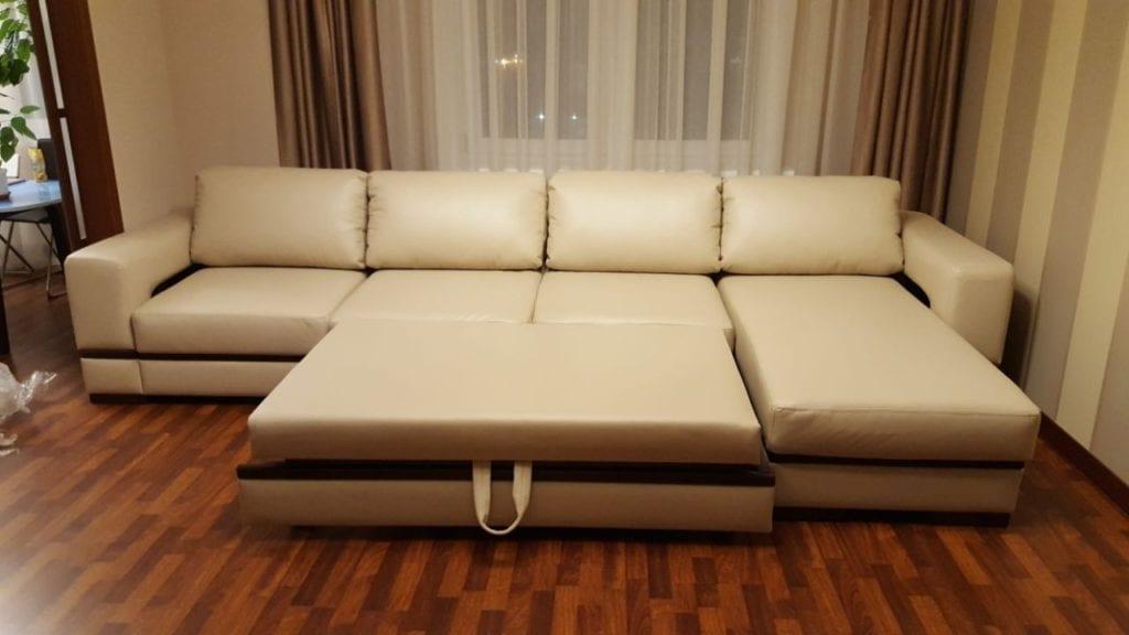 Перетяжка большого углового дивана фото 24