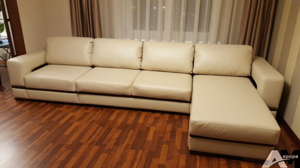 Перетяжка большого углового дивана фото 23