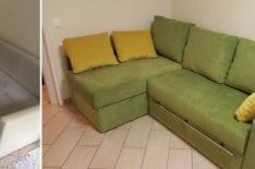 Перетяжка углового дивана фото 25
