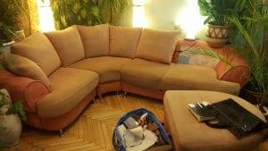 Перетяжка дивана с козеткой