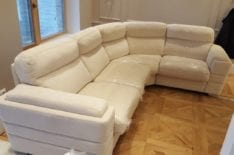 Перетяжка кожаного углового дивана фото 16