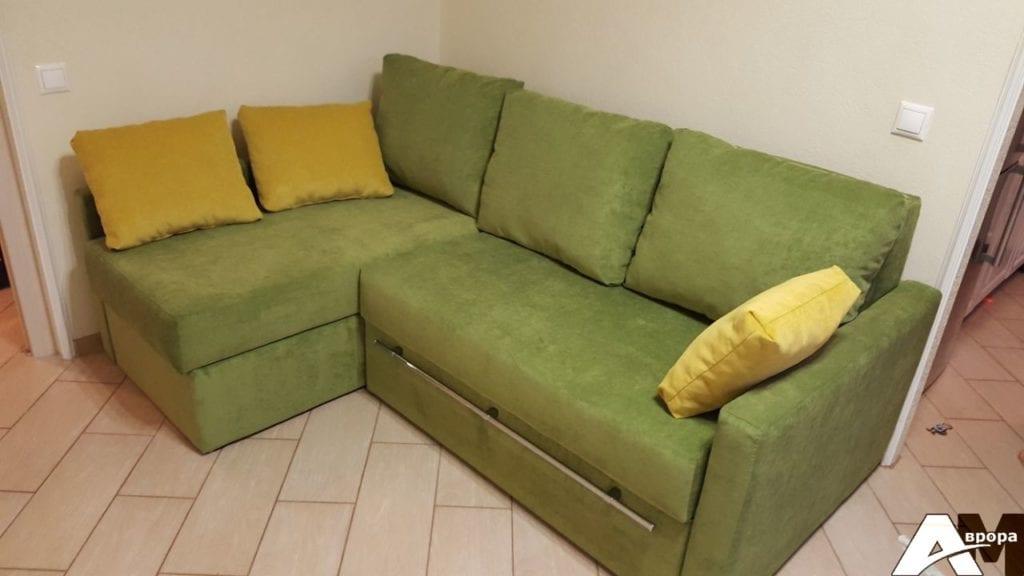 Перетяжка углового дивана фото 17