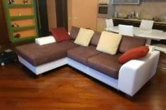 Перетяжка углового дивана в кожзам