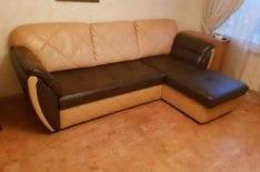 Частичная перетяжка углового дивана